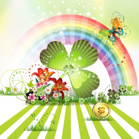 St  Patrick s Day card design with clover and coin  Stock Vector - 12774309