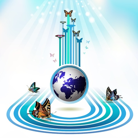 Springtime background with butterflies around the Earth Vector
