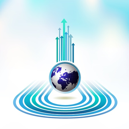 Blue Earth with colored arrows Vector