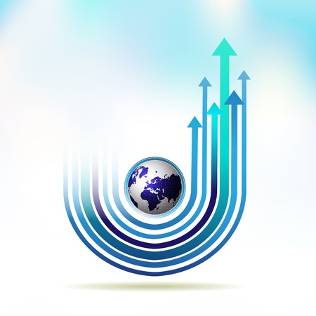 moving forward: Blue Earth with colored arrow over sky background Illustration