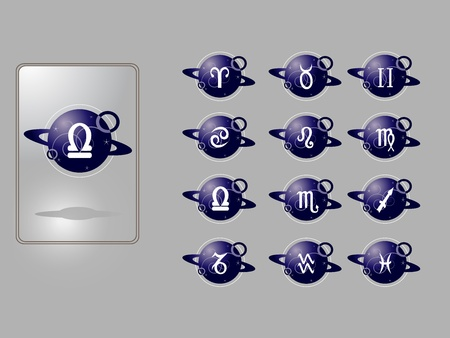 Set of vector icons for zodiac signs  Vector