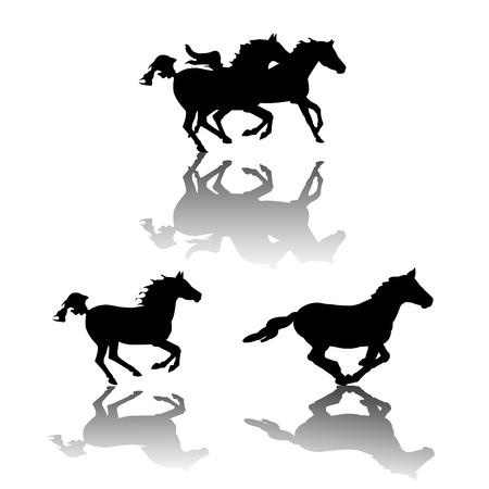 galop: Silhouettes de chevaux Illustration