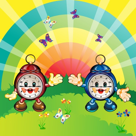 animal time: Cute and happy cartoon clock, park outdoor  Illustration