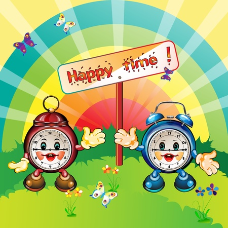 Cute and happy cartoon clocks, park outdoor, card illustration  Stock Vector - 12984537
