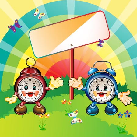 radiant light: Cute and happy cartoon clocks, park outdoor, card illustration