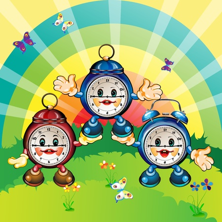 Cute and happy cartoon clocks, park outdoor, card illustration  Vector
