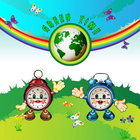 Eco Earth , cartoon clocks, flowers, butterflies and rainbow Stock Vector - 12984551