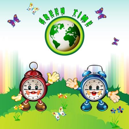 Eco Earth , cartoon clocks, flowers, butterflies and rainbow Stock Vector - 12984553