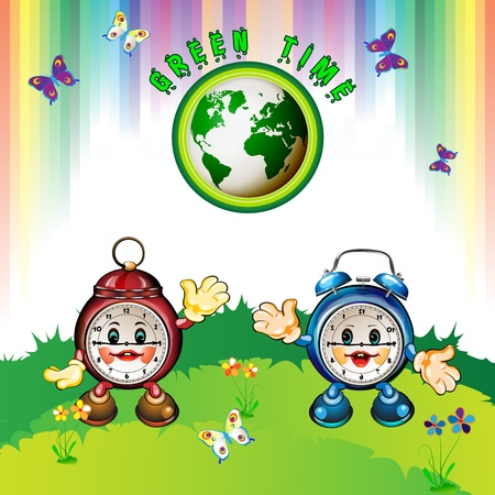 Eco Earth , cartoon clocks, flowers, butterflies and rainbow  Vector