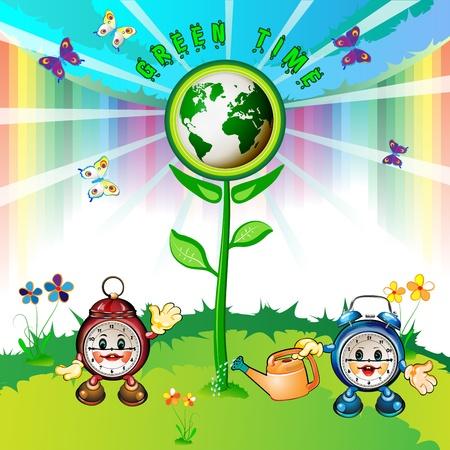 Eco Earth , cartoon clocks, flowers, butterflies and rainbow  Vector