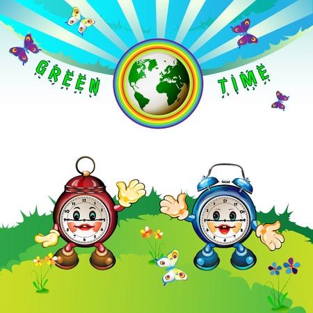 Eco Earth , cartoon clocks, flowers, butterflies  Vector
