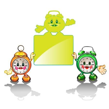 clock cartoon: Happy cartoon clocks holding an empty editable banner  Illustration