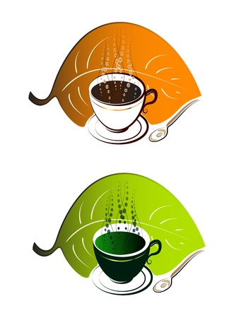 steam of a leaf: Cup of coffee and cup of green tea Illustration