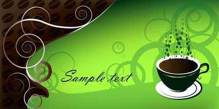green coffee beans: Cup of coffee, illustration on green background