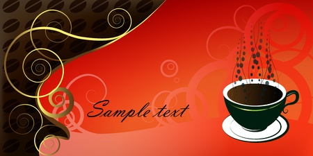 green coffee beans: Cup of coffee, illustration on red background  Illustration
