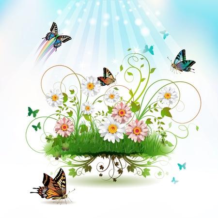 estrella de la vida: Flores en la hierba y las mariposas