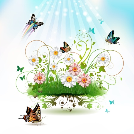 star of life: Flowers in the grass and butterflies