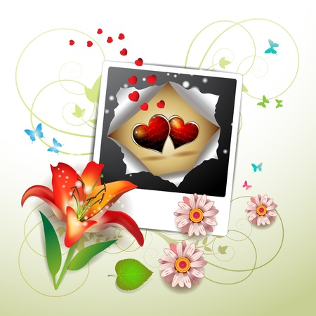 Photo with hearts, flowers and butterflies for Valentine s day Vector