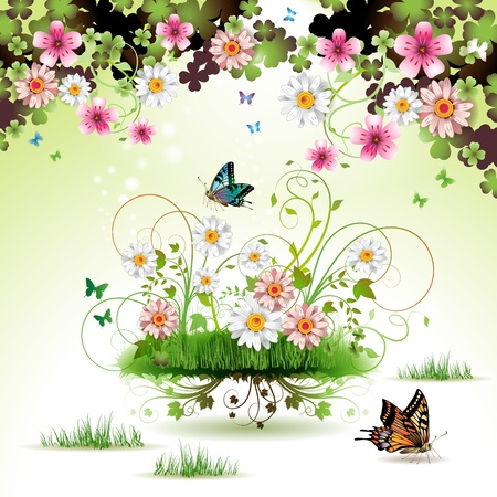 Flowers in the grass and butterflies Stock Vector - 12984603