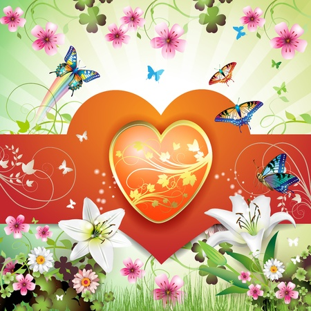 Big heart, and butterflies over springtime background for Valentine s day Vector