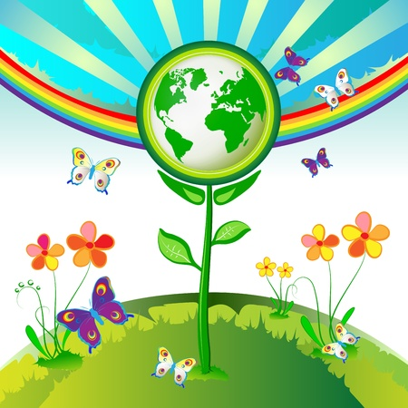 Eco Earth flowers, butterflies and rainbow Stock Vector - 13064288