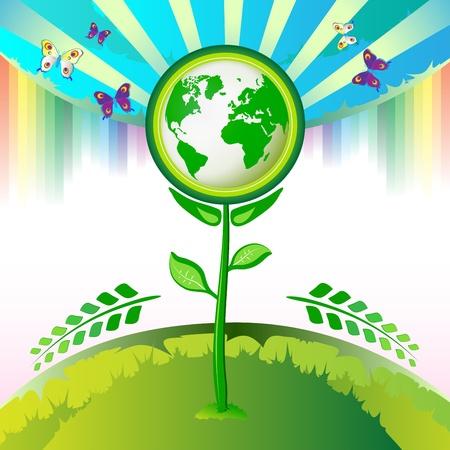 Eco Earth flowers, butterflies and rainbow  Vector