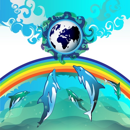 Eco Earth, clean water, diving dolphin Vector