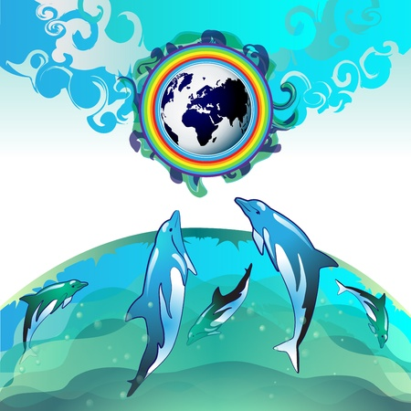 Eco Earth, clean water, diving dolphin Stock Vector - 13061800