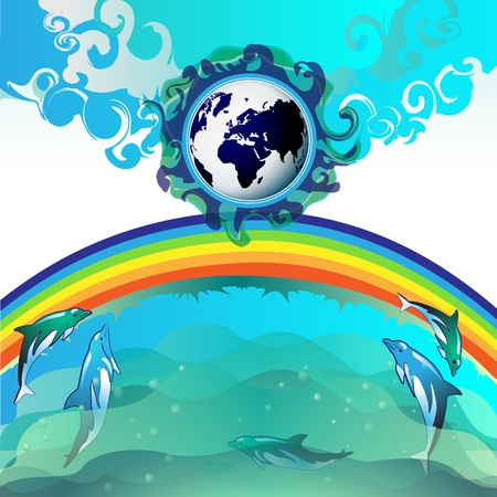 Eco Earth, clean water, diving dolphin Stock Vector - 13061801