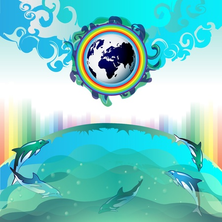 Eco Earth, clean water, diving dolphin Stock Vector - 13064295
