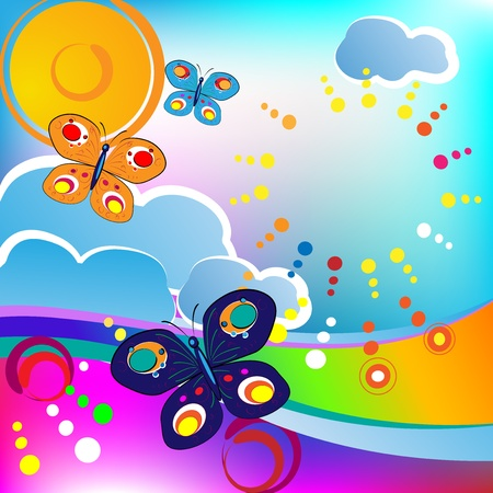 Springtime feeling; butterflies and clouds Vector