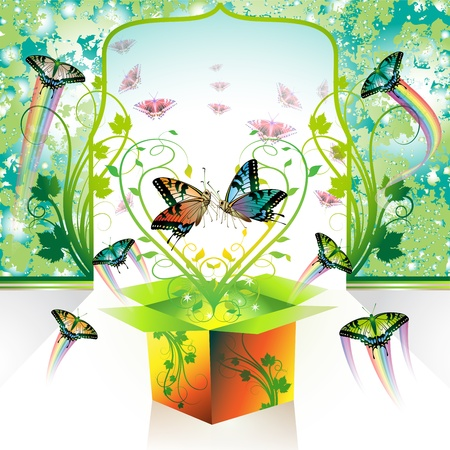 Springtime box, love with butterflies Vector
