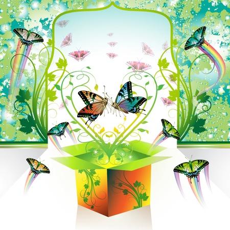 springtime: Springtime box, love with butterflies