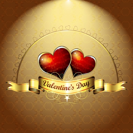 Valentine s day, illustration with hearts of love  Vector
