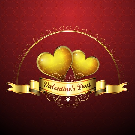 Valentine s day, golden hearts of love  Stock Vector - 12984589