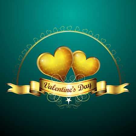Valentine s day, golden hearts of love  Vector
