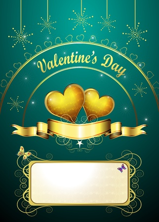 Valentine s day card, golden hearts of love Vector