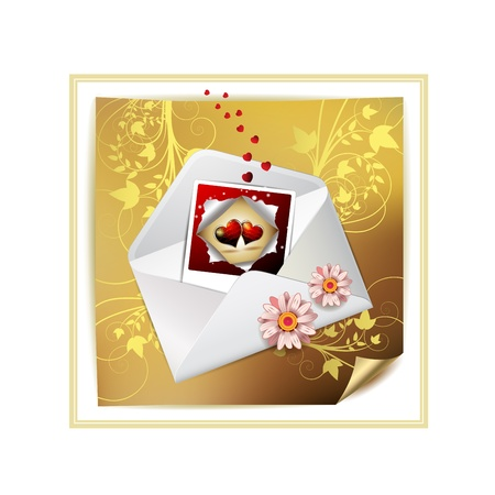 animal private: Envelope and photo with hearts over decorated gold paper