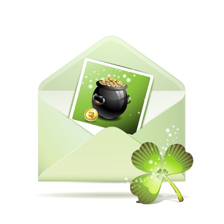 Envelope with photo and clover for St  Patrick s Day Stock Vector - 12984575