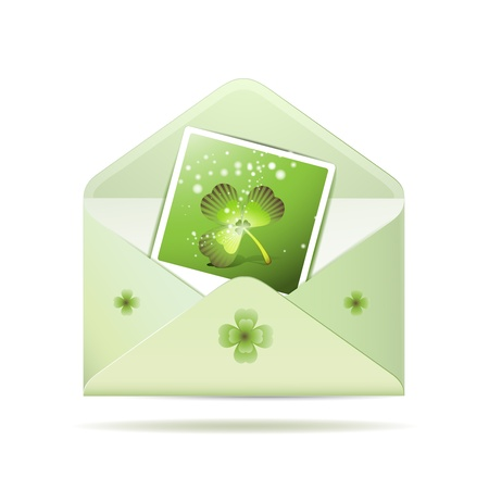 Envelope with photo and clover for St  Patrick s Day Stock Vector - 13060391