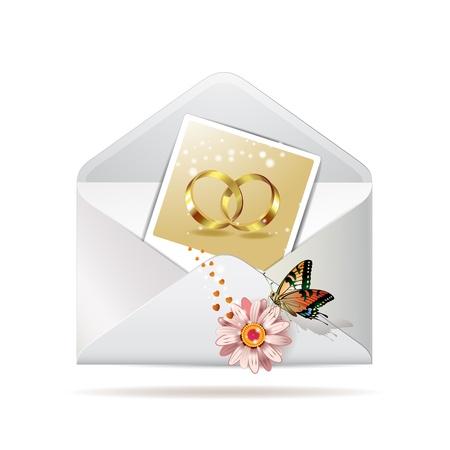 Envelop met foto van twee trouwringen Stock Illustratie
