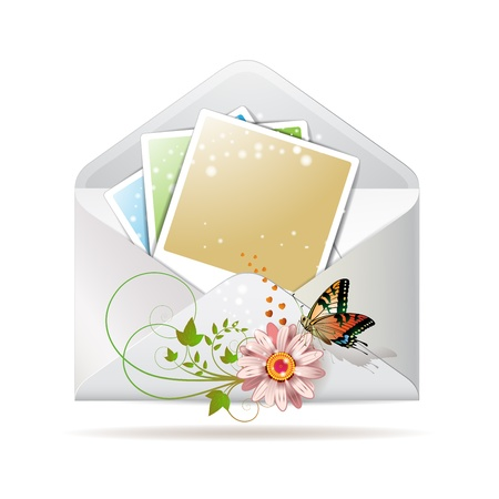 Blank colored photos in envelope decorated with flower and butterfly Vector