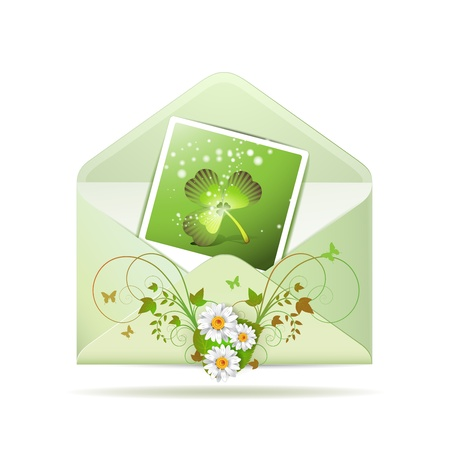 Envelope with photo and clover for St  Patrick s Day Vector