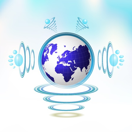 Blue Earth character suspended with waves Vector