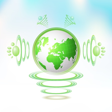 green environment: Eco Green Earth character suspended with waves Illustration