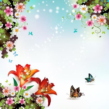 muguet fond blanc: Arri�re-plan avec des fleurs et des papillons