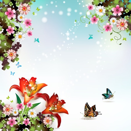 Background with flowers and butterflies Stock Vector - 13060369