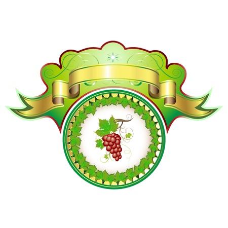 tip of the leaf: Label for red wine  Illustration