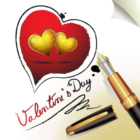 Valentine s day, illustration with hearts of love and pen Stock Vector - 13007703