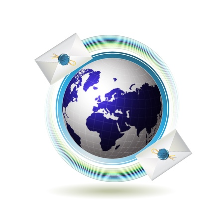 Mail icon with Earth and envelope Vector